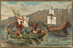 Hudson in Rowboat with His Men Assisted by Native Americans