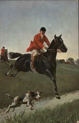 A Horse and Rider with Dog