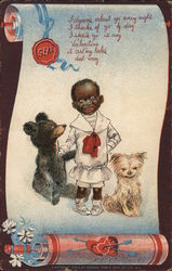 Black Child with Dog and Small Bear