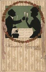 Silhouette of Romantic Couple Toasting with Champagne Glasses