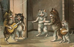 5 Cats Singing with 1 Playing a Guitar Postcard