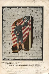 Soldier with Flag Overlay on Sheet Music
