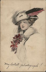 Drawing of Woman in Plumed Hat, Red Flowers at Bosom