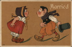 Married - Dutch Couple in Wooden Shoes about to Kiss Postcard