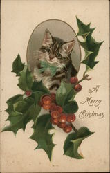 Kitten in Oval Frame, Holly and Berries Beneath