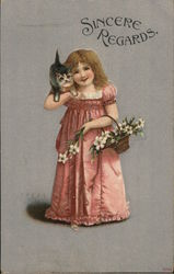 Young Girl with Kitten on Shoulder, Holding Basket of Flowers