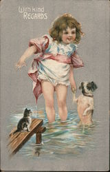 Little Girl in Water Holding Dog's Paw