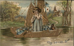 Young Girl in Golden Boat with Flowers and Cat