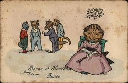 Cat in Woman's Clothing Seated, Four Man-Dressed Cats Talking