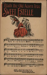 Man and Woman Seated Closely Together - Sheet Music Postcard