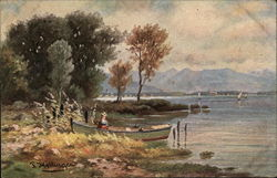 Scenic Waterfront with Woman in Boat