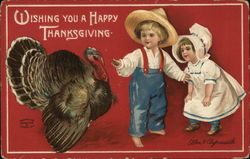 Wishing You a Happy Thanksgiving - Turkey & Two Farm Children