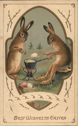 Best Wishes for Easter - Two Bunnies Dyeing Eggs