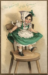 The Wearing of the Green - A Young Girl in Green Dancing on a Chair