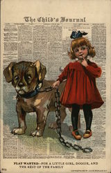 Girl in Red Dress Holding Dog on Thick Chain