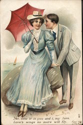 Young Man Speaking to Young Woman with Umbrella