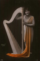 Woman Holding a Harp