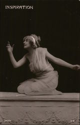 Kneeling Woman Posing with Hand in Air