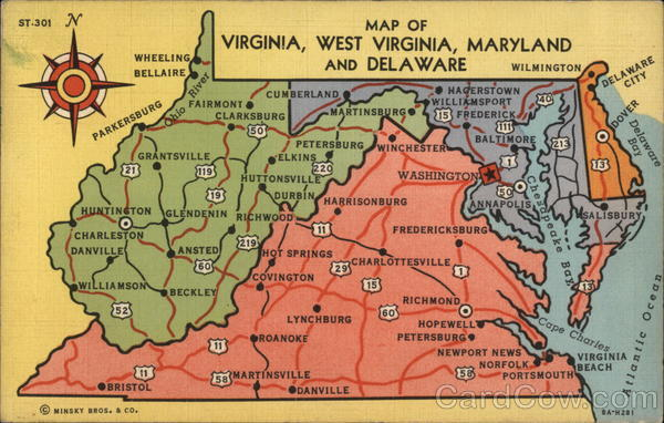 Map Of Virginia And Maryland Map of Virginia, West Virginia, Maryland and Delaware Maps Postcard Map Of Virginia And Maryland