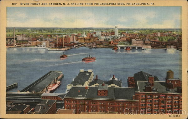 River Front and Camden, N.J. skyline from Philadelphia side, Philadelphia, PA Pennsylvania