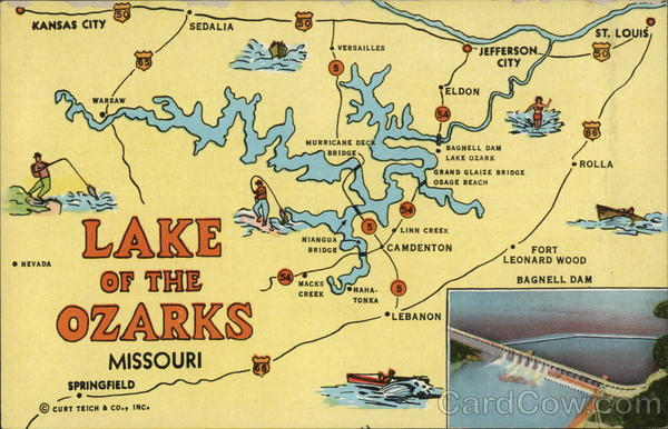 Map Of Lake Of The Ozarks Missouri Postcard - Missouri lakes map