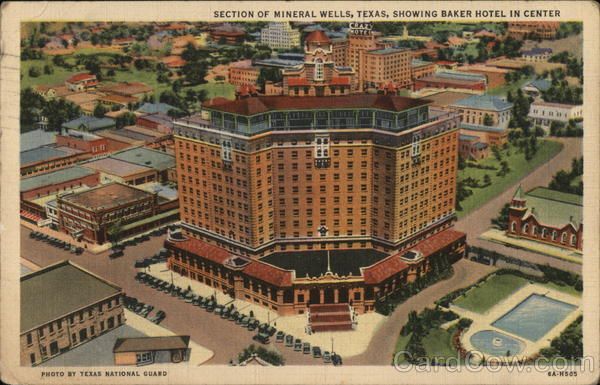 Section of Mineral Wells, Texas, Showing Baker hotel in Center
