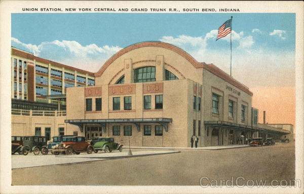 Union Station, NewYork Central and Grand Trunk R.R. South Bend Indiana