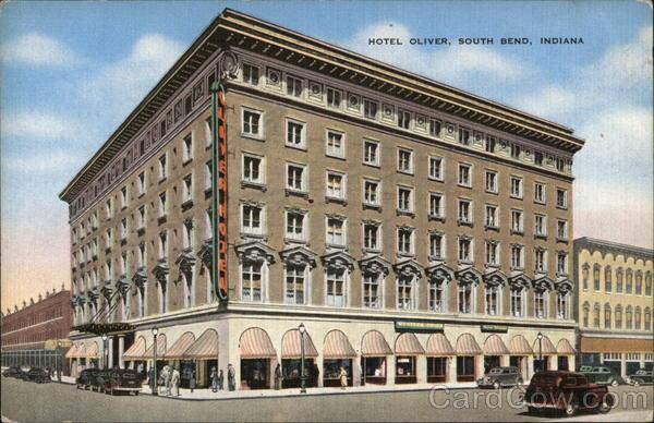 hotel oliver south bend in postcard. Black Bedroom Furniture Sets. Home Design Ideas