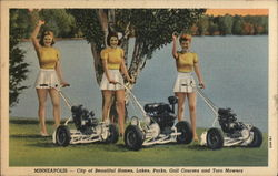 3 Women with Toro Lawn Mowers