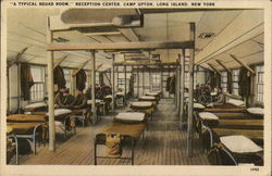 """A Typical Squad Room"" Reception Center, Camp Upton Postcard"