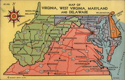 Map of Virginia, West Virginia, Maryland and Delaware Postcard