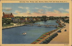 Bird's Eye View, Wesley Lake, Showing Asbury Park and Ocean Grove, N. J.