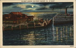 55:-Boat Landing, Old Point Comfort, VA., At Night