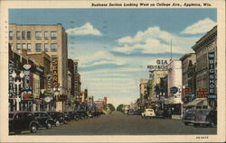 Business Section Looking West on College Ave Postcard