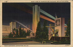 Night View of Fountain and Statuary, Reflection Basin, Texas Centennial Exposition