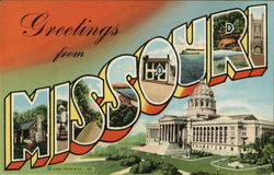 Grretings from Missouri Postcard