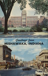 Mishawaka High School and View Looking West on Lincoln Way