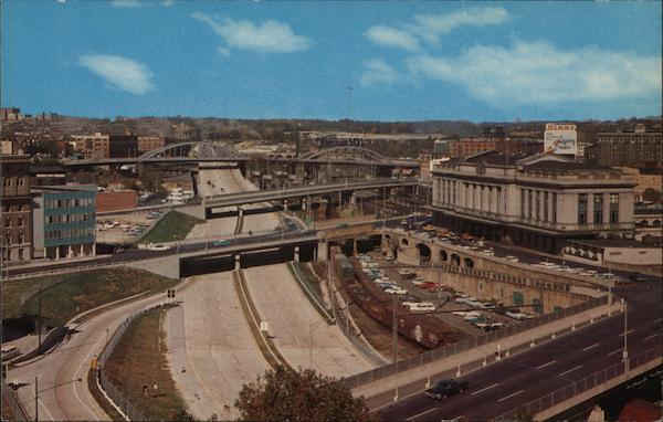Jones Falls Expressway - Railroad Station on the Right Baltimore Maryland