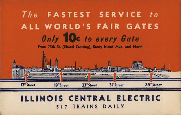 Illinois Central Electric Trains Chicago 1933 Chicago World Fair