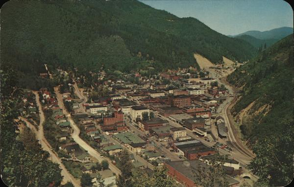 Aerial View of Town Wallace Idaho