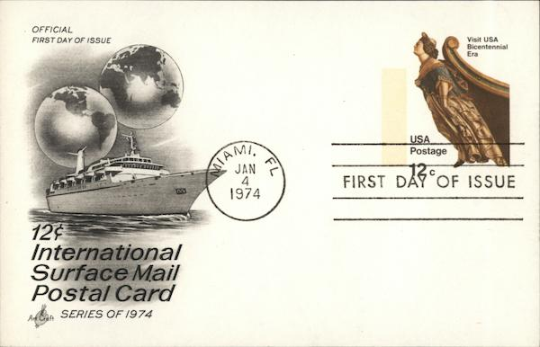 12c International Surface Mail Postal Card Series of 1974