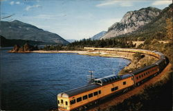 Streamliner Train Along Columbia River Gorge