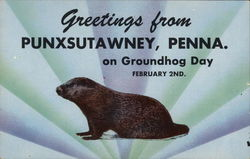 Greetings From Punxsutawney on Groundhog Day - February 2nd