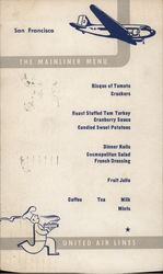 United Airlines San Francisco Mainliner Menu
