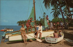 Boaters, Vacationers On the Beach