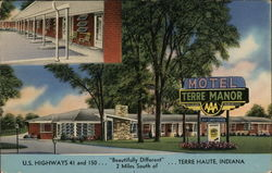 "Terre Manor U.S. Highways 41 and 150 ""Beautifully Different"" 2 miles south of Terre Haute, Indiana Postcard"