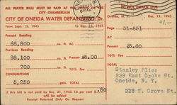 City of Oneida Water Department Bill Postcard