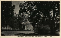 Findlay College - Main Building Postcard