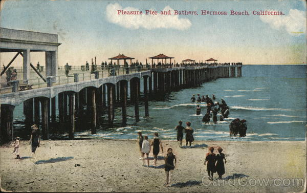 Pleasuer Pier and Bathers Hermosa Beach California