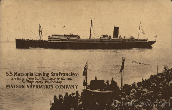 S.S. Matsonia Leaving San Francisco California Steamers